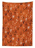 オカルトインテリアテーブルクロスDiverse Western Aztec Spiritual AlchemyシンボルoverカラフルBackdrop Sacred Powers Artprint長方..