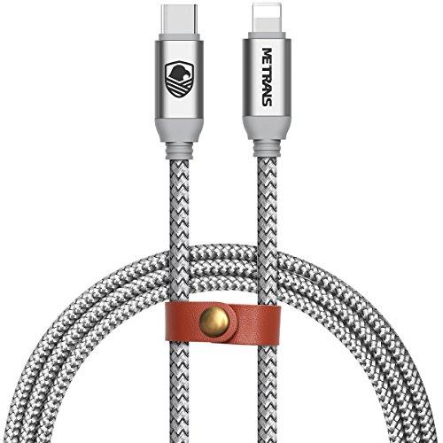 Type C Lightning ケーブル Metrans Type C Lightning 変換ケーブル 高耐久 2.5A急速充電 高速データ転送 新しいMacbook/iPhone X/XS/XS MAX/XR / 8 / 8 Plus/iPad/iPod などに対応 银白色(1M)