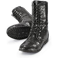 Baleraブーツ女の子シューズダンス・レディースCombat Boots With Glitter Andジッパーゴム底靴