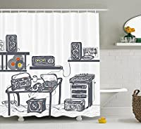 Modern Shower Curtain by Ambesonne Recording Studio with Music Devices Turntable Records Speakers Digital Illustration Fabric Bathroom Decor Set with Hooks 70 Inches Cadet Blue【クリスマス】【ツリー】 [並行輸入品]