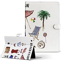 igcase d-01J dtab Compact Huawei ファーウェイ タブレット 手帳型 タブレットケース タブレットカバー カバー レザー ケース 手帳タイプ フリップ ダイアリー 二つ折り 直接貼り付けタイプ 013583 海 ビーチ ファッション