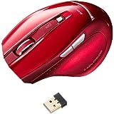 サンワサプライ ワイヤレスマウス 超小型レシーバー ブルーLED レッド MA-NANOH11R