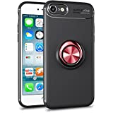 ALEVE iPhone8 ケース iPhone7 ケース リング付き 車載ホルダー対応 スマホケース 薄型 軽量 耐衝撃 携帯カバー (iPhone8/7, ブラック+レッド)
