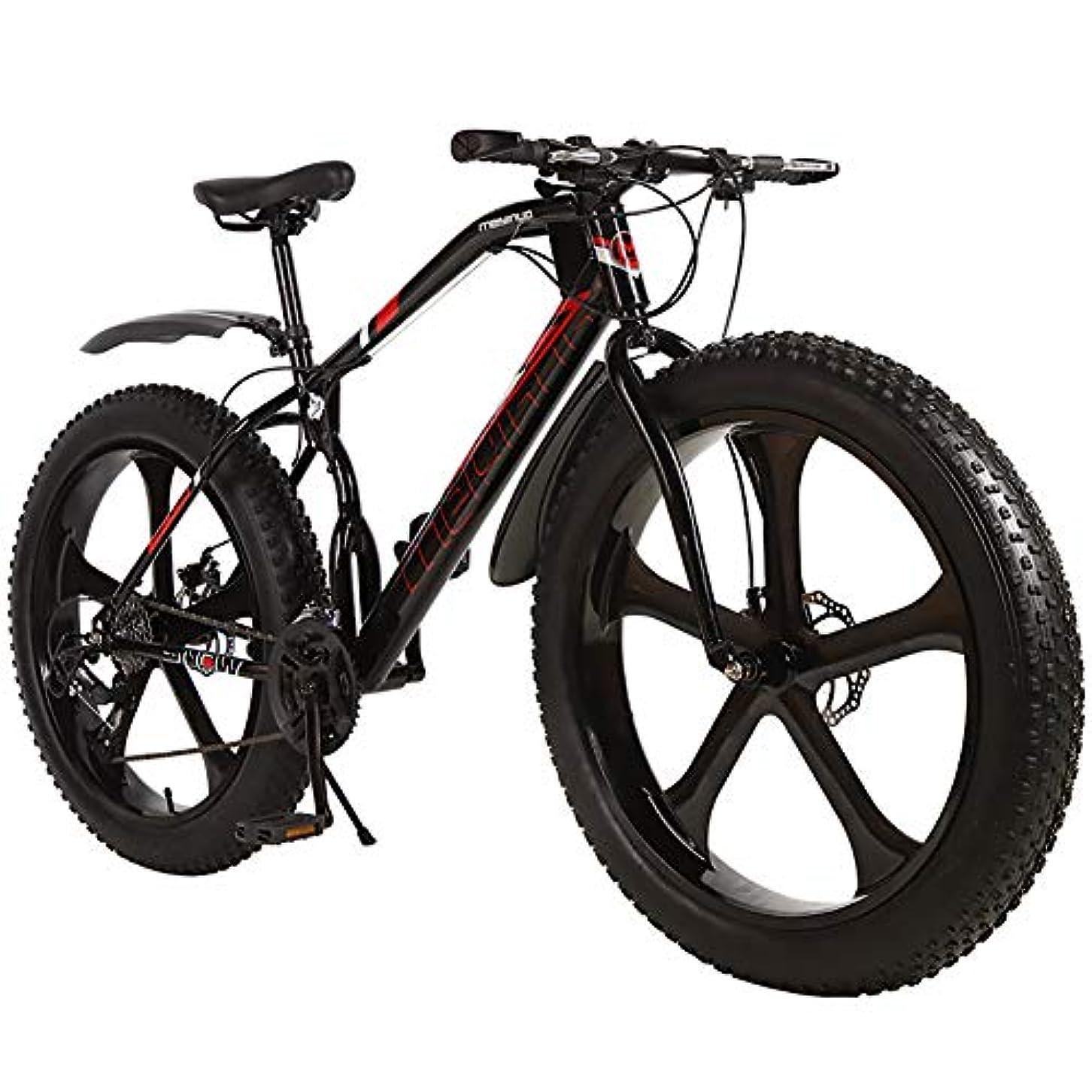 振る舞い学士書店アウトロード 脂肪タイヤ マウンテンバイク 男性,雪 バイク 26インチ 段変速,ダブルディスクブレーキ アンチスリップ 自転車 5 スポーク タイヤ