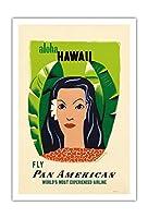 アロハハワイ - パンアメリカン航空 - ビンテージなハワイの旅行のポスター によって作成された エドワード・マックナイト・コウファー c.1953 - アートポスター - 76cm x 112cm