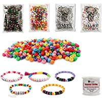 TOAOB 1200pcs Assorted Colour Acrylic Alphabet Letter Beads and Pony Beads Combination Kit with Crystal Wire for Kids Handmade DIYy Jewellery Making