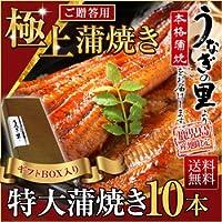 うなぎの里 鹿児島産ブランド鰻 特大蒲焼き10本ギフトセット (タレ山椒セット×20・お吸い物×20 付き)