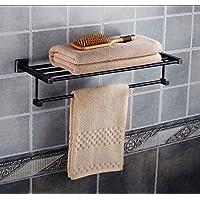 Yomiokla バスルームアクセサリー - キッチン トイレ バルコニー 浴室 メタルタオルリング A フル銅 ブラック 35cm