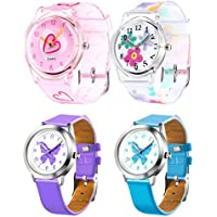 Tatuo 4 Pieces Watches for Girls, Cute Cartoon Girls Wrist Watch 3D Silicone Band Time Teacher Gifts