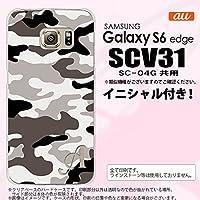 SCV31 スマホケース Galaxy S6 edge カバー ギャラクシー S6 エッジ イニシャル 迷彩A グレーA nk-scv31-1145ini D