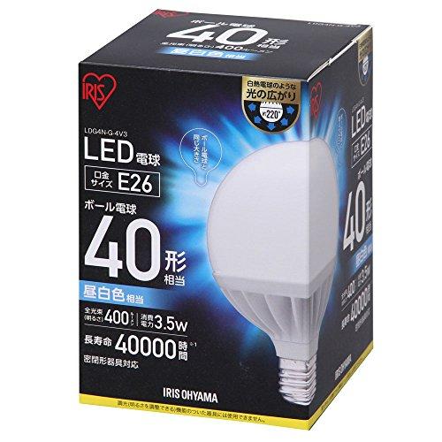 アイリスオーヤマ LEDボール球 40形相当 昼白色 LDG4N-G-4V3 アイリスオーヤマ(567311)アイリスオーヤマ