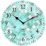 壁掛け時計 インテリア アート クロック タイル ブルー 直径28.5cm