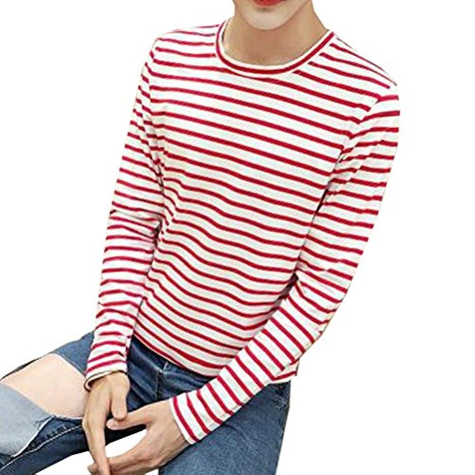 完全に地元インフレーション輝姫 ブラウス メンズ  長袖  シャツ 横縞 ラウンドネック Tシャツ 秋春 ファッション 通学 通勤 カジュアル (L, ピンク)