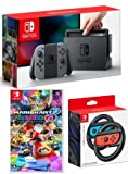 ■新品■Nintendo Switch Joy-Con (L)グレー +マリオカート8 デラックス+Joy-Conハンドル 2個セット [並行輸入品]