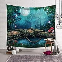 北欧の寝室のタペストリーの装飾的な布の壁のカーペットの防水シートの背景の美しい森 SHWSM (色 : D, サイズ さいず : 150x130)