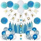 風船 誕生日 飾り付け 誕生日の男の子の装飾キット - 男の子の誕生日のための美しい色 - HAPPY BIRTHDAY ガーランド - 青、ライトブルーと白いポムポンズバルーン