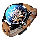GuTe出品 腕時計 メンズ 自動巻き スケルトン 革バンド アンティーク ユニーク 格好良い オシャレ ブラック 機械式