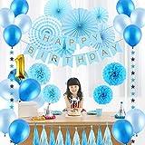 誕生日 飾り付けセット 超豪華 ブルー系 HAPPY BIRTHDAYガーランド ペーパーファン ペーパーフラワー 36点セット(両面テープ付き)