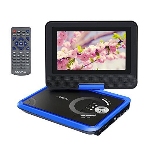 COOAU ポータブル DVD プレーヤー 7.5インチ CPRM対応 高画質 大きい画面 270°回転可能 SDカード USB対応 車載用 シガー ソケット用 電源ケーブル 付メーカー1年保証 ブルー(青)