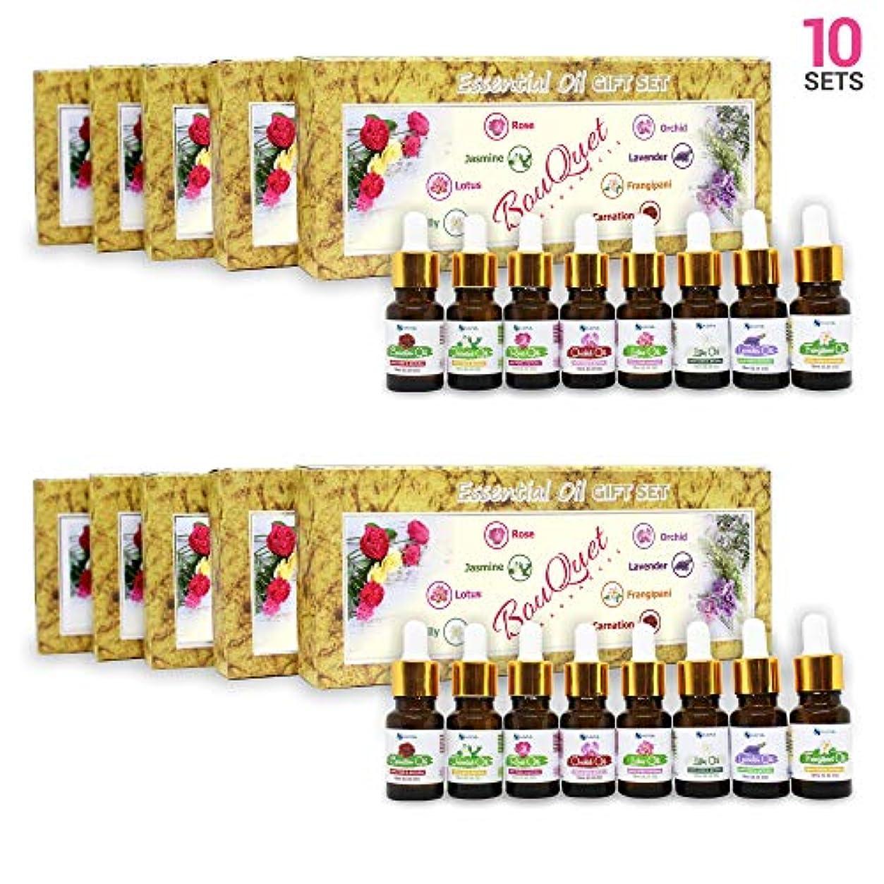 火薬びんどうしたのAromatherapy Fragrance Oils (Set of 10) - 100% Natural Therapeutic Essential Oils, 10ml each (Rose, Jasmine, Lotus...