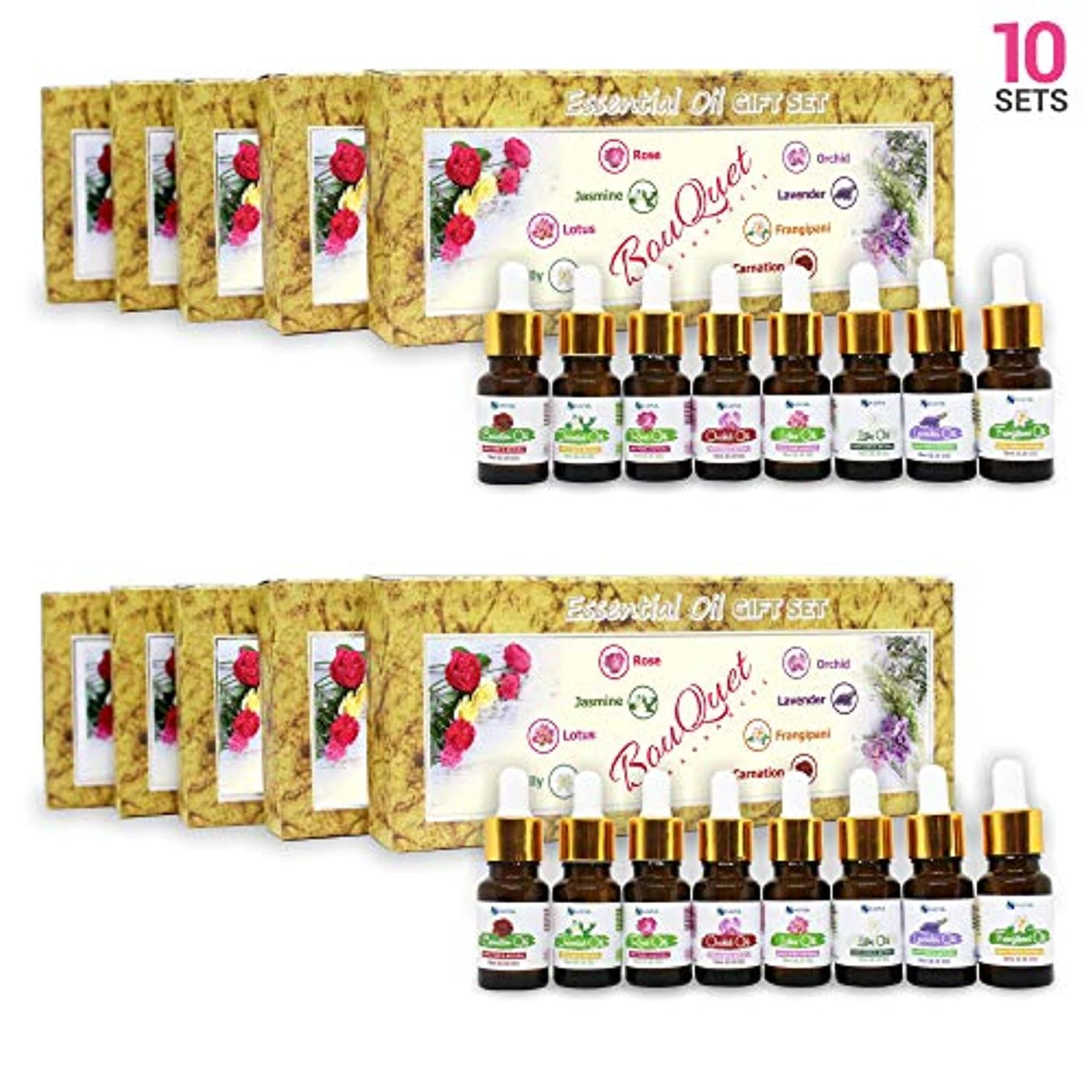 Aromatherapy Fragrance Oils (Set of 10) - 100% Natural Therapeutic Essential Oils, 10ml each (Rose, Jasmine, Lotus...