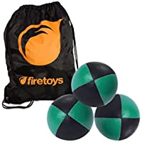 Juggling Ball Set - 3x Green/Black Juggling Balls & Firetoys Bag [並行輸入品]