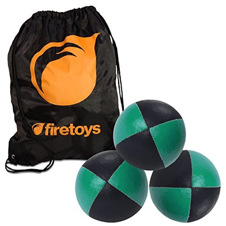 Juggling Ball Set - 3x Green/Black Juggling Balls & Firetoys Bag [並行輸入品]