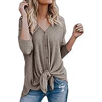 レディース tシャツ BOBOGOJP 女性 チュニック ゆっとり ニット製 上着 柔らかい トップス ボタン付け 結び目 不規則な裾 カーディガン Vネック ボトムシャツ バットウィングプレーンシャツ