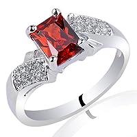 [ファンタジー リング]Fantasy Ring スターリングシルバーロジウムフィルドリング 5X7長方形カットCZ(キュービックジルコニア)レッドガーレット 指輪 サイズ18号 [インポート]