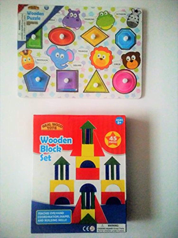 Real Wood Toys :木製ブロックセット、木製図形パズル