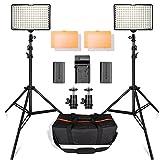 SAMTIAN 160 LEDビデオライト照明キット 78.74インチ/2M三脚 3200/5500K写真ライトスタンドセット Canon Nikon Sony DSLRカメラ撮影 バッテリー、充電器と キャリングケース付属