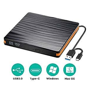 USB3.0 Type-C 外付け DVD ドライブ 薄型 ノートPC向け 書き込み 読み込み DVD CD 外付け プレーヤー スリムタイプ ポータブル USB3.0/2.0/1.0 Windows/Linux/Mac OS等対応 ブラック 両対応 高速 静音 超スリム (黒)