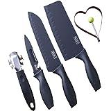 Chef Knife Set - Stainless Steel Kitchen Knives Set Black Sharp Cleaver for Meat Cleaver Vegetable Slicer Cooking Tools