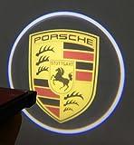 【SW】 王者見参! ポルシェ 汎用 ロゴ LED ウェルカム ドア ランプ Porsche イルミ カーテシ ライト (ベージュ 白色 )