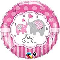 Its A Girl Elephants Qualatex 46cm Foil Balloon