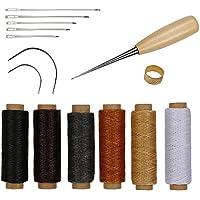 RMTIME 蝋引き糸 レザークラフト 15点セット 革 DIY 手作り 裁縫 ロウ引き糸 6色 縫い糸用針 指守り輪 レザーツール 皮革 工具 手芸