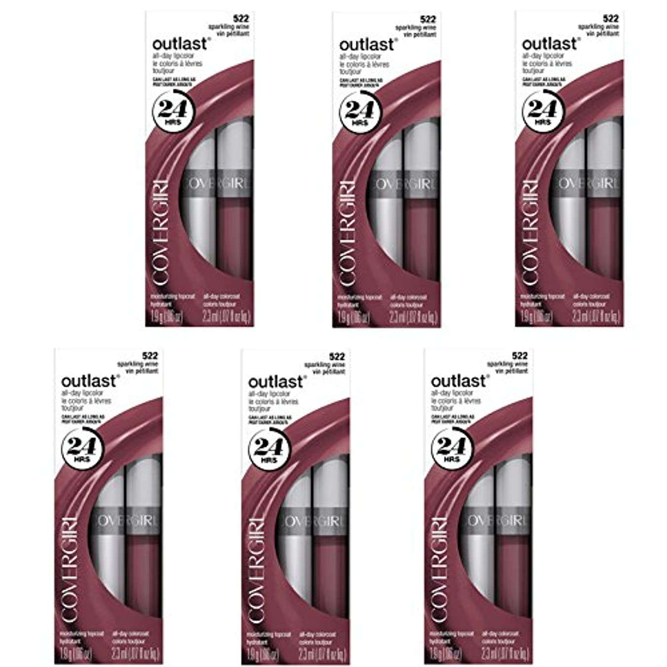 ワイヤーありふれた咳COVERGIRL Outlast All-Day Moisturizing Lip Color 522 Sparkling Wine, 6/set, Discontinued [並行輸入品]