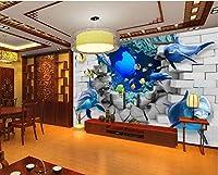 Bzbhart 3D壁画の壁紙壁画シルクの壁のステッカー Oceanイルカ壊れた壁画 壁の壁画-450cmx300cm