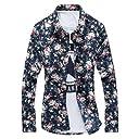 【Wild Cats】メンズ 花柄 襟付きシャツ 長袖 個性派 大きめサイズ 韓国風 カジュアル(エコバッグ付き)XL-Navy8