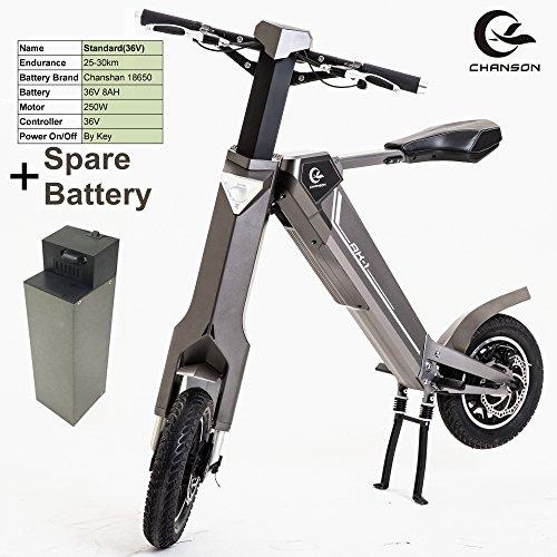 ポータブルインテリジェント折りたたみ電動自転車は、250Wモーター、36V 8Ahロングライフトップブランドのリチウム電池、アルミニウム合金フレーム、スマート自動折りたたみ可能スクーター(灰, 標準+...