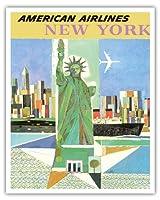 アメリカ、ニューヨーク - アメリカン航空 - 自由の女神 - ビンテージな航空会社のポスター によって作成された ウェバー c.1960 - アートポスター - 41cm x 51cm