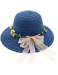 春と夏のレディースサンスクリーンサンハットボウストリーマー麦わら帽子アウトドアトラベルビーチハット (色 : 青)