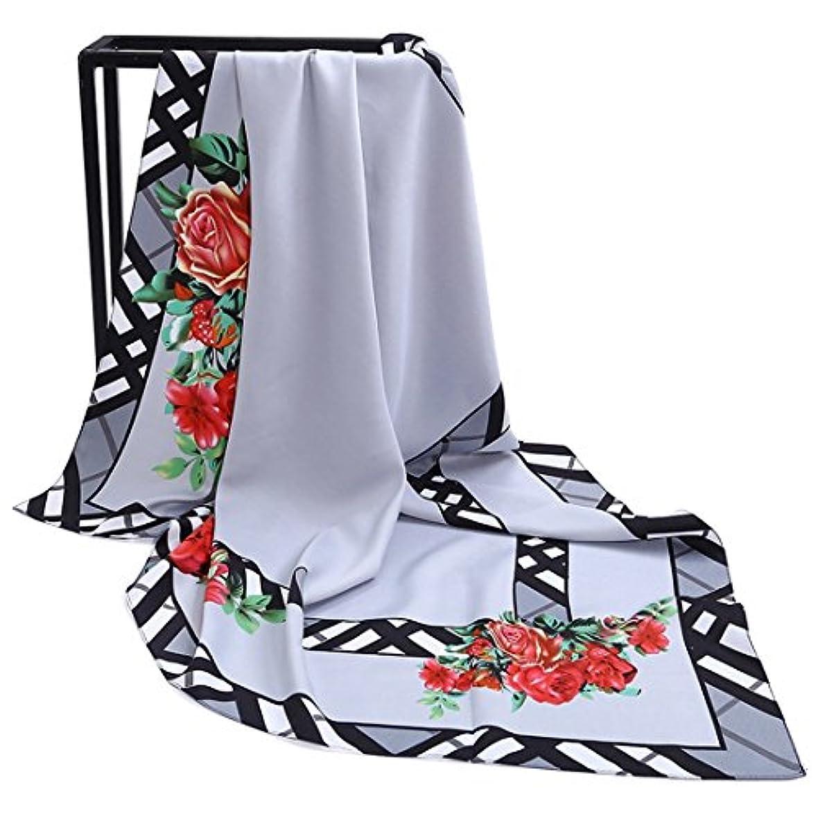 マイルド鍔あたり女性用スカーフ軽量スカーフフラワープリントツイルシルクラージスクエアスカーフレディーススカーフ