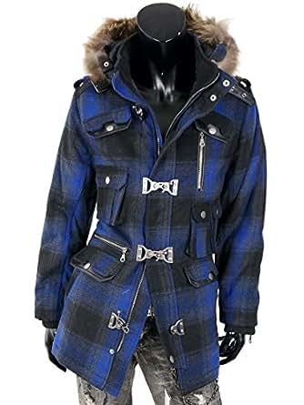 ファイヤーマン コート メンズ ロングコート メルトン ウール A261120-01 ブルーチェック M