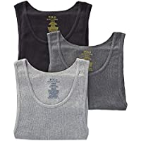 POLO RALPH LAUREN Classic Fit Ribbed Tank with Moisture Wicking 100% Cotton - 3 Pack