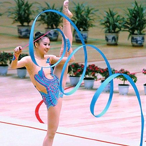 4Mダンスジムリボンアート体操リボンバレエStreamer BatonジムRhythmic Ribbons with WandアートArtistic GymnasticsバレエTwirlingロッド、レディースガールズキッズ