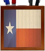 Rikki Knight Texas Flag on Distressed Wood Design 5-Inch Wooden Tile Pen Holder (RK-PH8656) [並行輸入品]