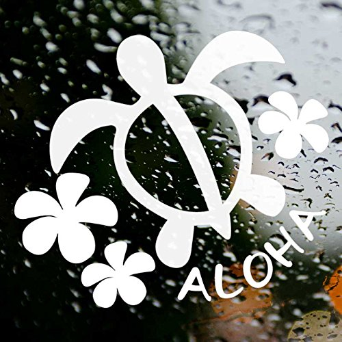 nc-smile ハワイアンステッカー HONU★プルメリア★ALOHA ホワイト