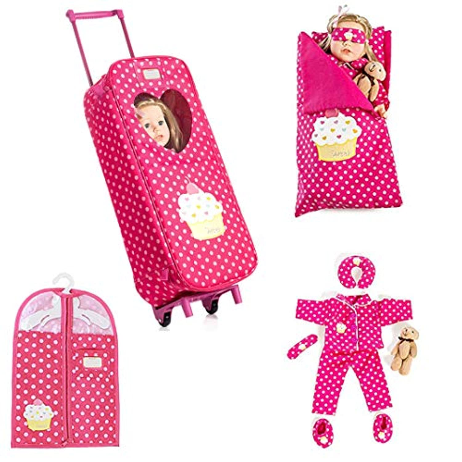 8 Piece Doll Travelling Trolley Set fits 46cm American girl Doll Including Pyjamas Sleeping Bag