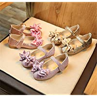 Toddler Kids Girl Slip on Leather Princess Shoes Bowknot Casual Single Non Slip